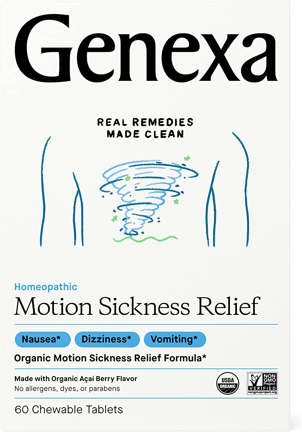 Genexa Motion Sickness Relief - 60 Chewable Tablets | Certified Organic & Non-GMO, Physician Formulated, Homeopathic | Motion Sickness Medicine
