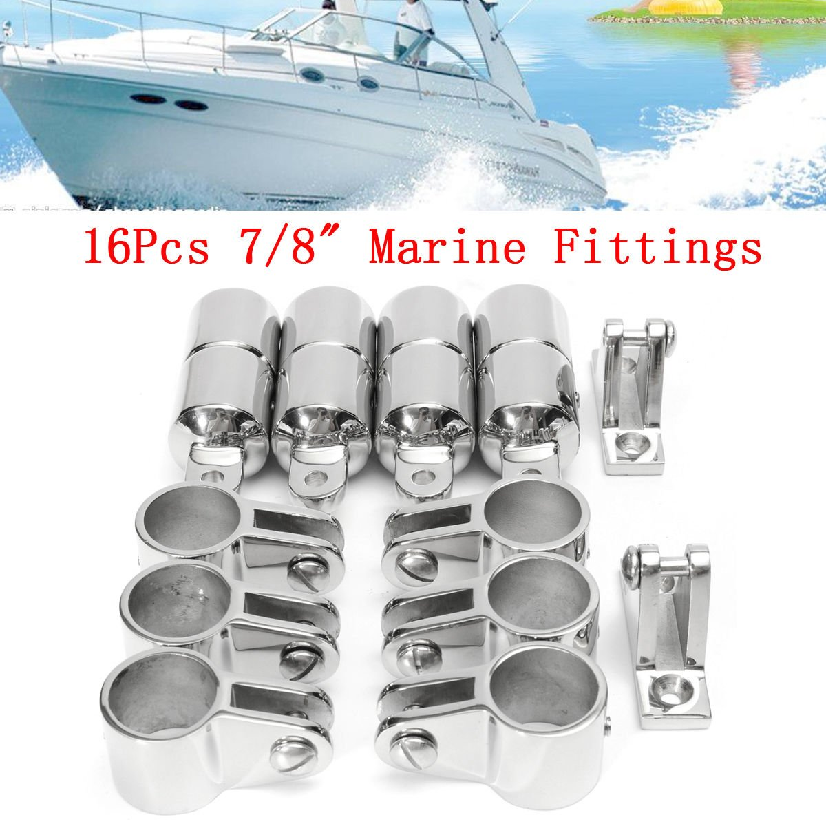16Pcs 4 Bow 7/8'' Bimini Top Boat Stainless Steel Fittings Marine Hardware Set by CISUNG