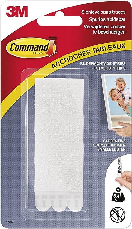 Command 17207 Tiras para colgar fotograf/ías tama/ño M, hasta 5,4 kg, 4 unidades con 2 tiras cada una color blanco