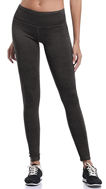 346f9fe52a Aenlley Women's Athletic Yoga Pants with Hidden Pocket Workout Gym Spandex  Tights Legging Color Black Grey