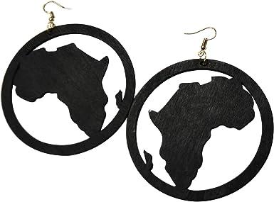 -80x65mm 8Pcs Black African Map Earring Wood Dangle Wooden CharmPendant