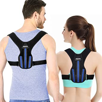 Posture Corrector for Men and Women, APPOLIS Upper Back Straightener Brace, Adjustable Device for Clavicle Support,,providing Pain Relief From Neck, Back and Shoulder (Universal)