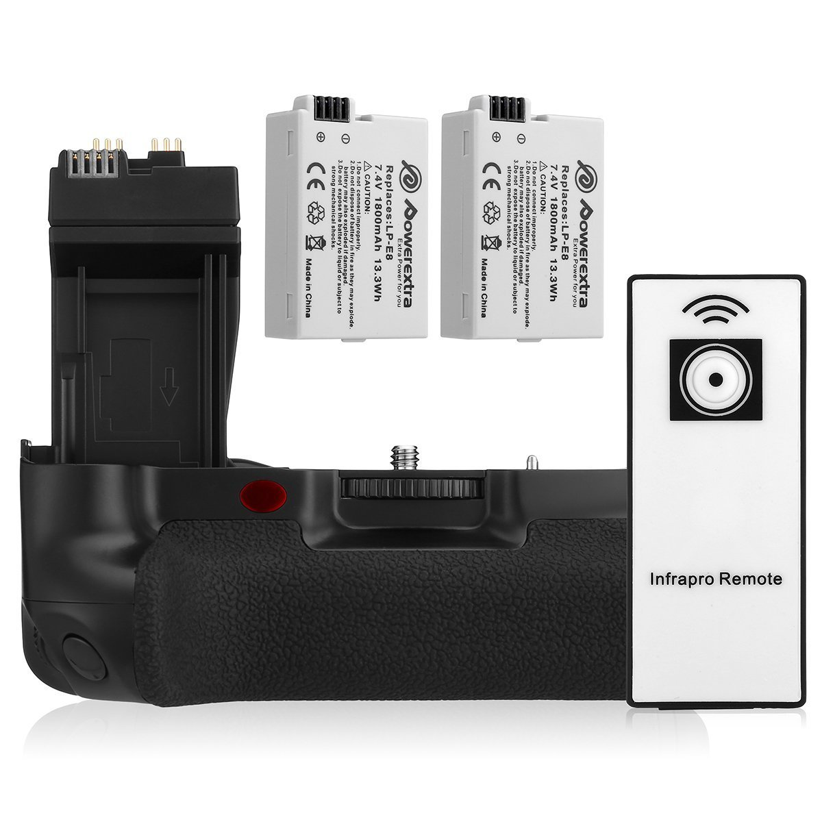 Powerextra BG-E8 Battery Grip + 2-Pack High Capacity 1800mAh LP-E8 Batteries Replacement for Canon EOS 550D/600D/650D/700D Rebel T2i/T3i/T4i/T5i Digital SLR Camera With Infrared Remote Control
