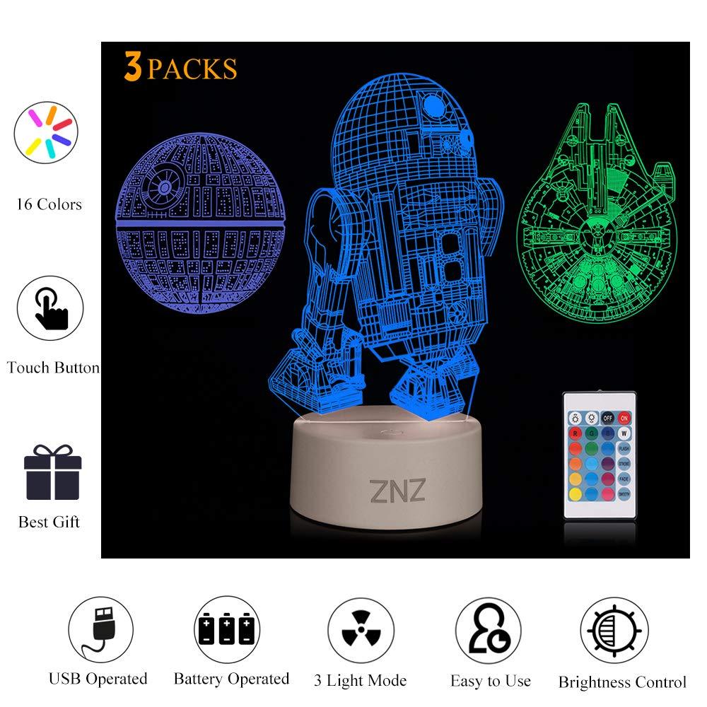 3D LED Star Wars Luz de noche, Lámpara de ilusión...