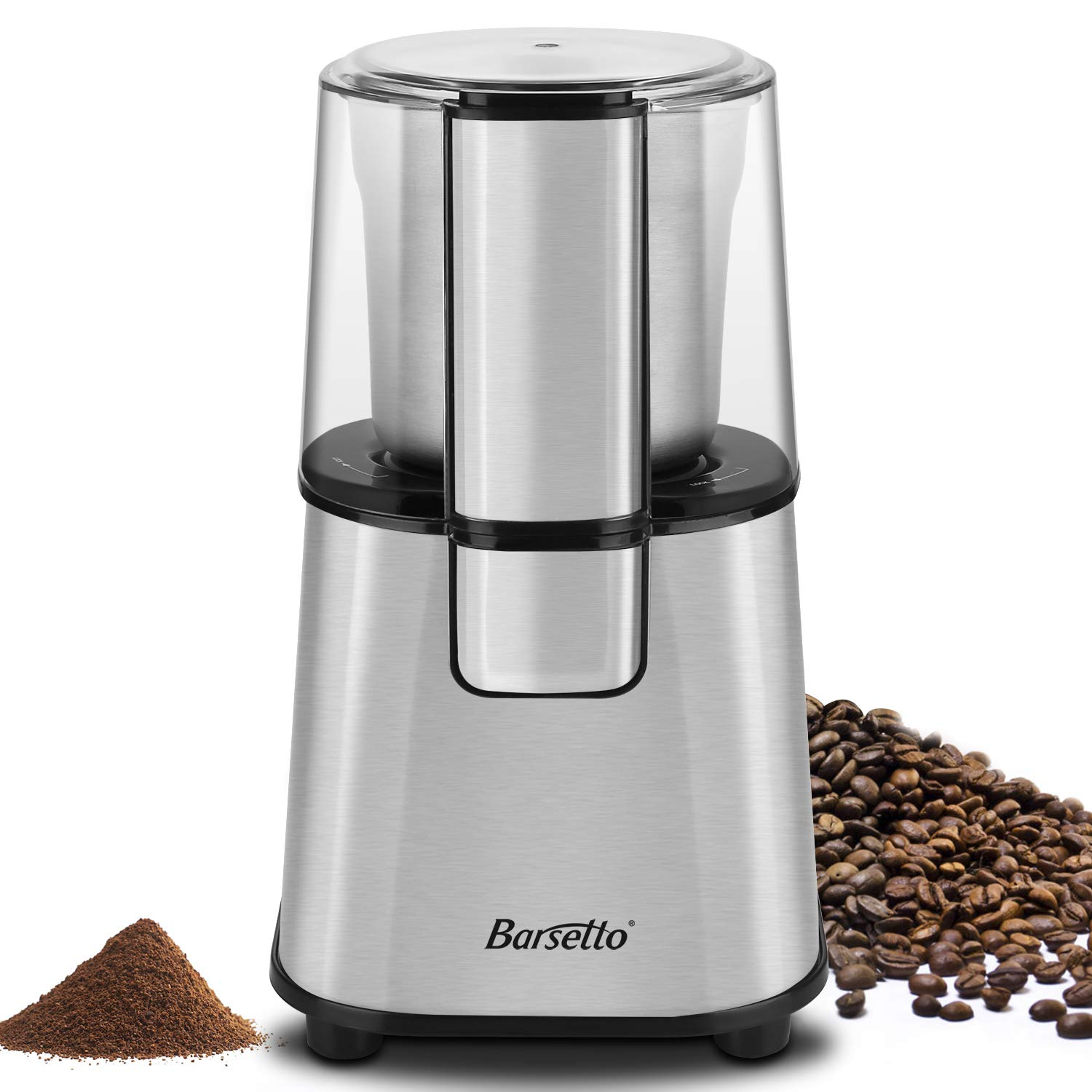 Barsetto Electric Coffee Grinder with Removal Coffee Powder Bowl, 200W Blade Spice Grinder,Stainless Steel by Barsetto