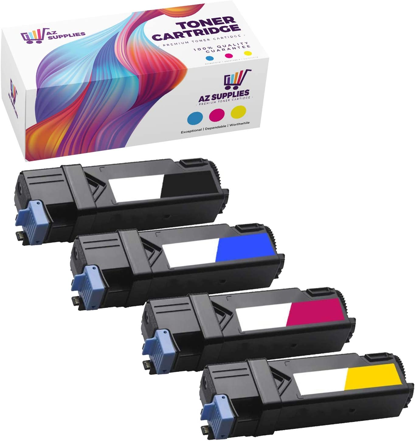 AZ Supplies Compatible Toner Cartridge Replacement for Dell 2150, 331-0719, 331-0716, 331-0717, 331-0718 for use in Dell 2150, 2150CN, 2150CDN, 2155,2155CN,2155CDN (Black,Cyan,Yellow,Magenta, 4-pack).