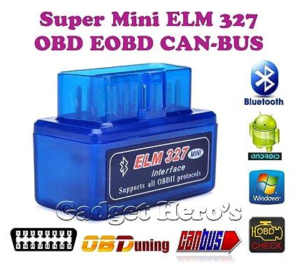 Gadget Hero's Torque SuperMini ELM 327 v2 1 Bluetooth EOBD 2 CAN-BUS OBD2  CAR Reader Scanner