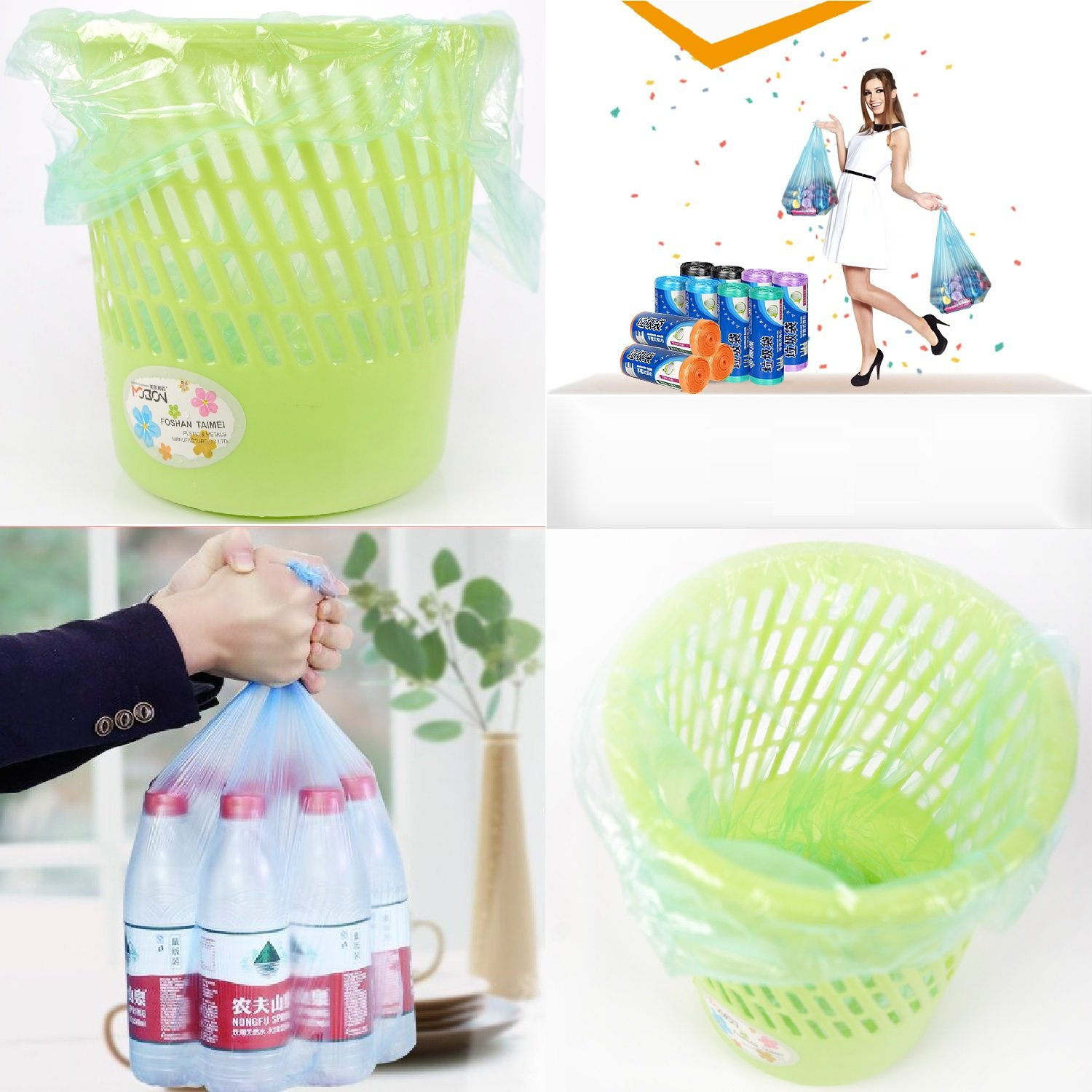 4 Rolls Garbage Bag -- Plastic Odorless Thickening Reinforcement Points Off Type Vest Type Portable Bag Environmental Protection Household Garbage Bags for Home And Hotel Color(Blue、Green、Pink、Black) by Only Supermarket (Image #7)