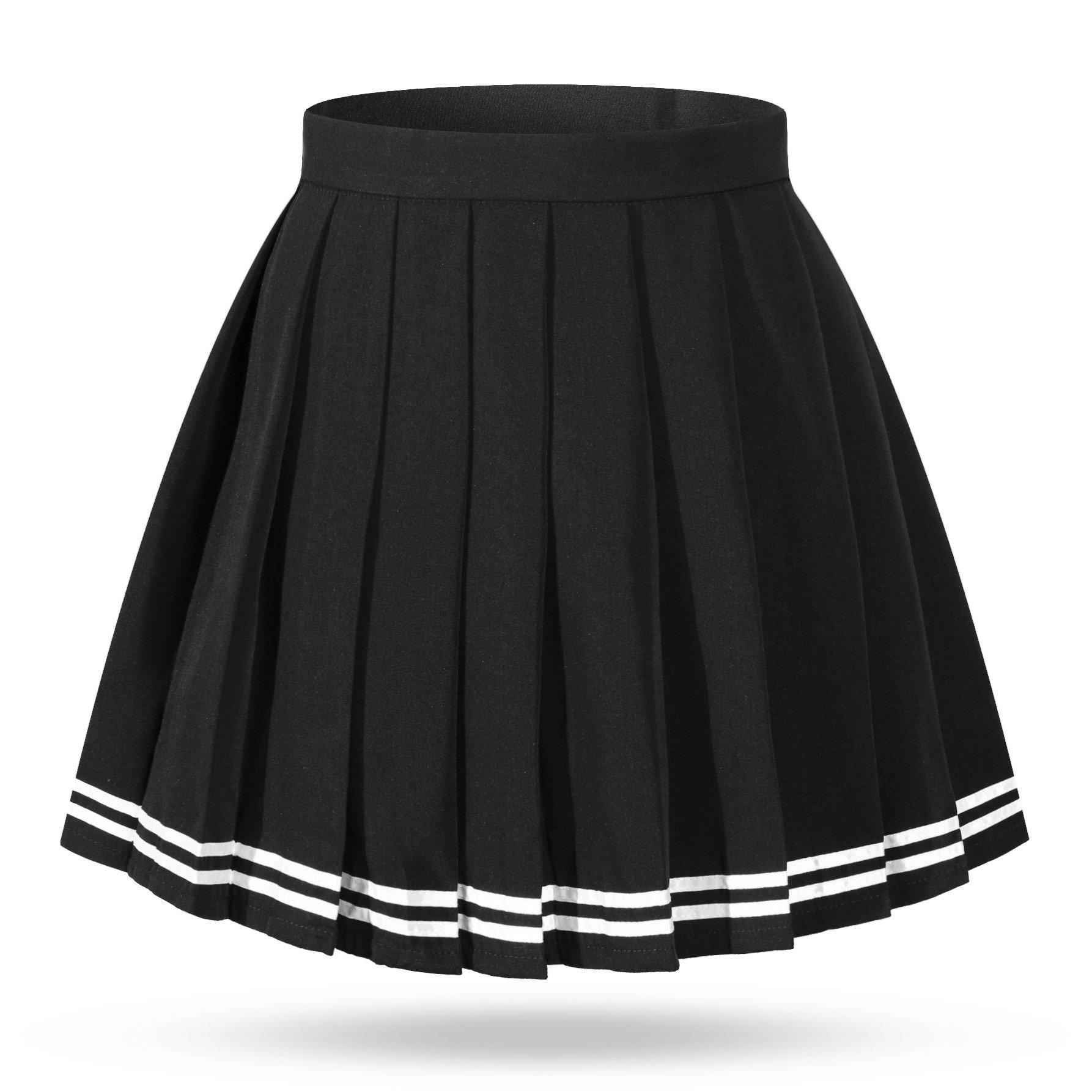 Girl`s mini kilt Stripes Japan School uniform Skirts (XS,Black White )