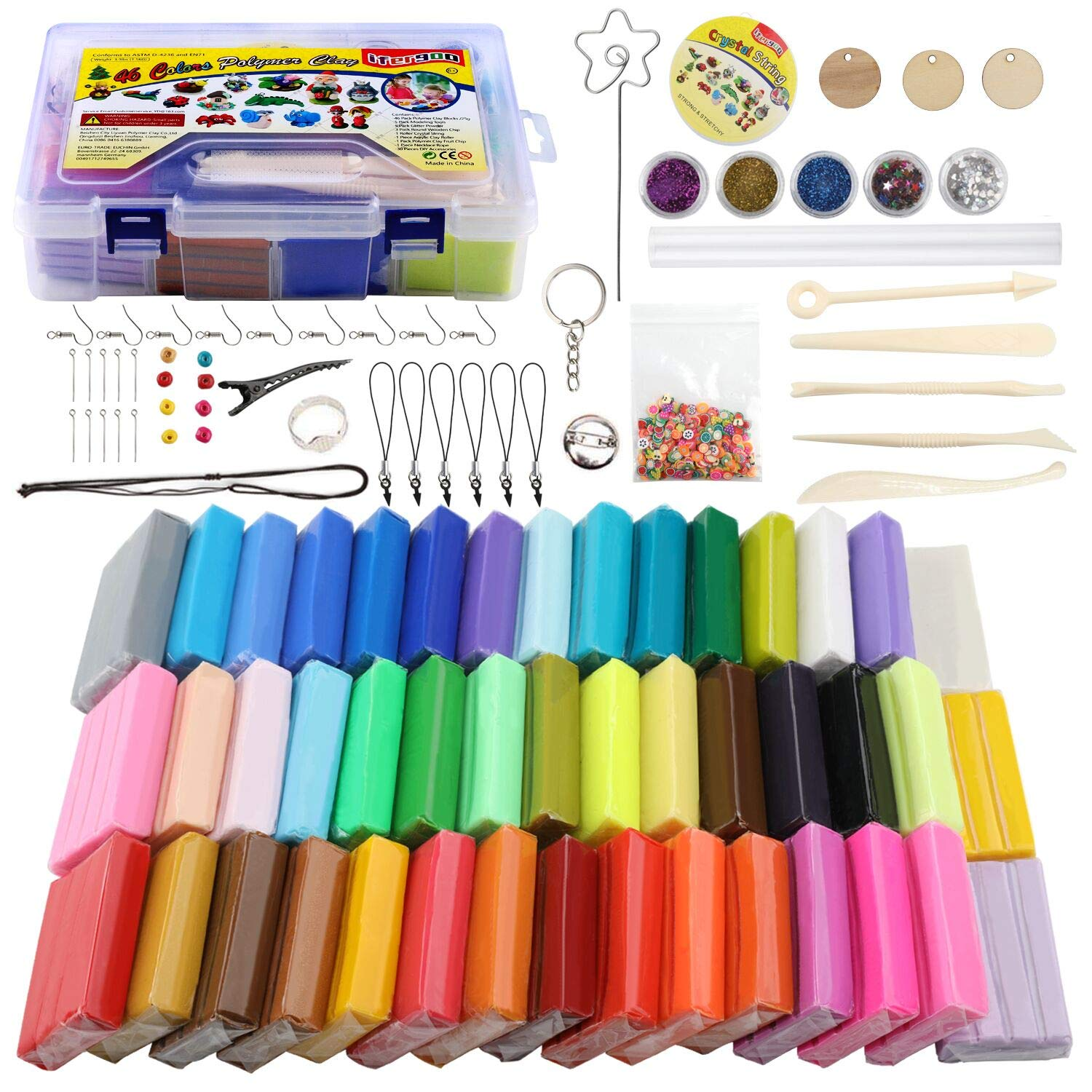 Polymer Clay Starter Kit, ifergoo 46 Colors Oven Bake Clay, DIY Modeling Clay Bockers, 5 Scuplting Tools, 5 Colors Mica Powder, 40 Jewelry Accessories for Kids and Adult (46 Colors Polymer Clay Kit)