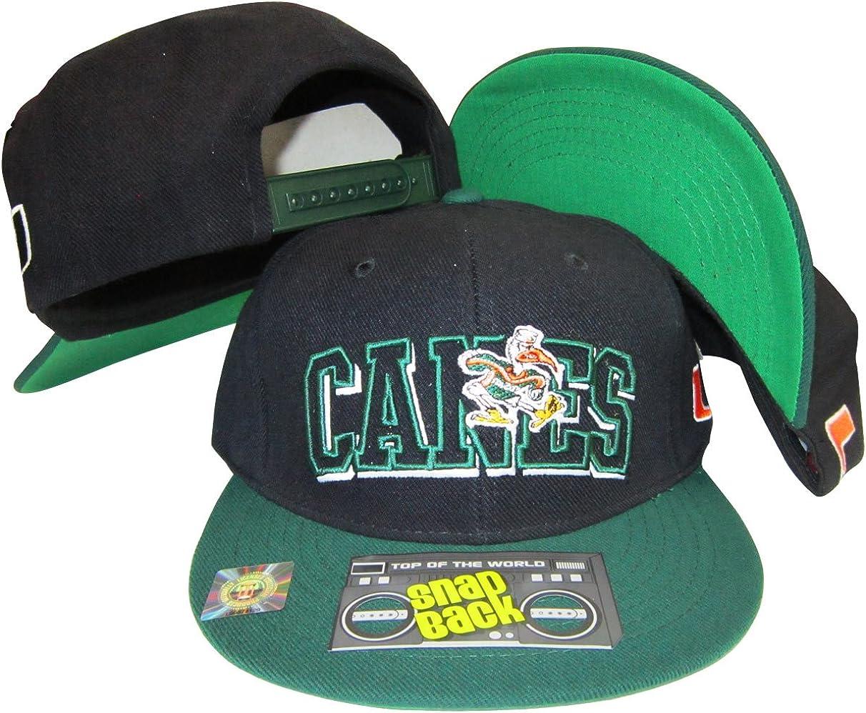 Miami Hurricanes Tide Black/Green Two Tone Plastic Snapback Adjustable Plastic Snap Back Hat/Cap