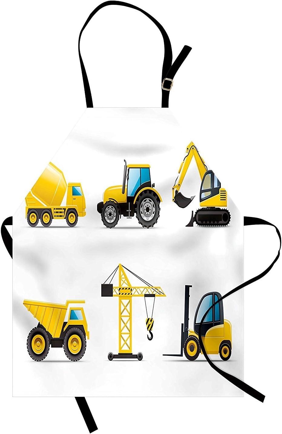 Wesbe - Delantal para habitación de niño, estilo de dibujos animados, maquinaria pesada, camión, grúa mezcladora con tractor, construcción unisex de cocina, babero con cuello ajustable para cocinar hornear jardinería, color amarillo