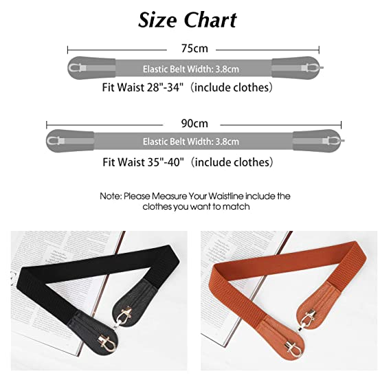 Women Wide Elastic Cinch Belts For Women Stretch Waist Belts 2 Pack Vintage  Belts For Dresses By SUOSDEY