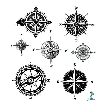 Ymeeech Temporary Tattoos for Men Women Compass Directions Black Grey Small  Waterproof...