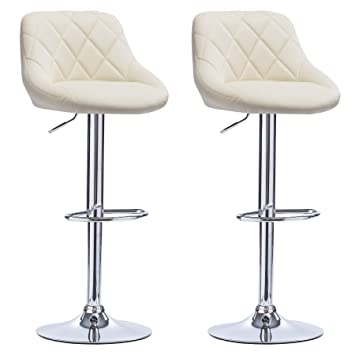 online retailer 94bd2 03af8 WOLTU Bar Stools Cream Bar Chairs Breakfast Dining Stools for Kitchen  Island Counter Bar Stools Set of 2 pcs Leatherette Exterior/Adjustable  Swivel ...