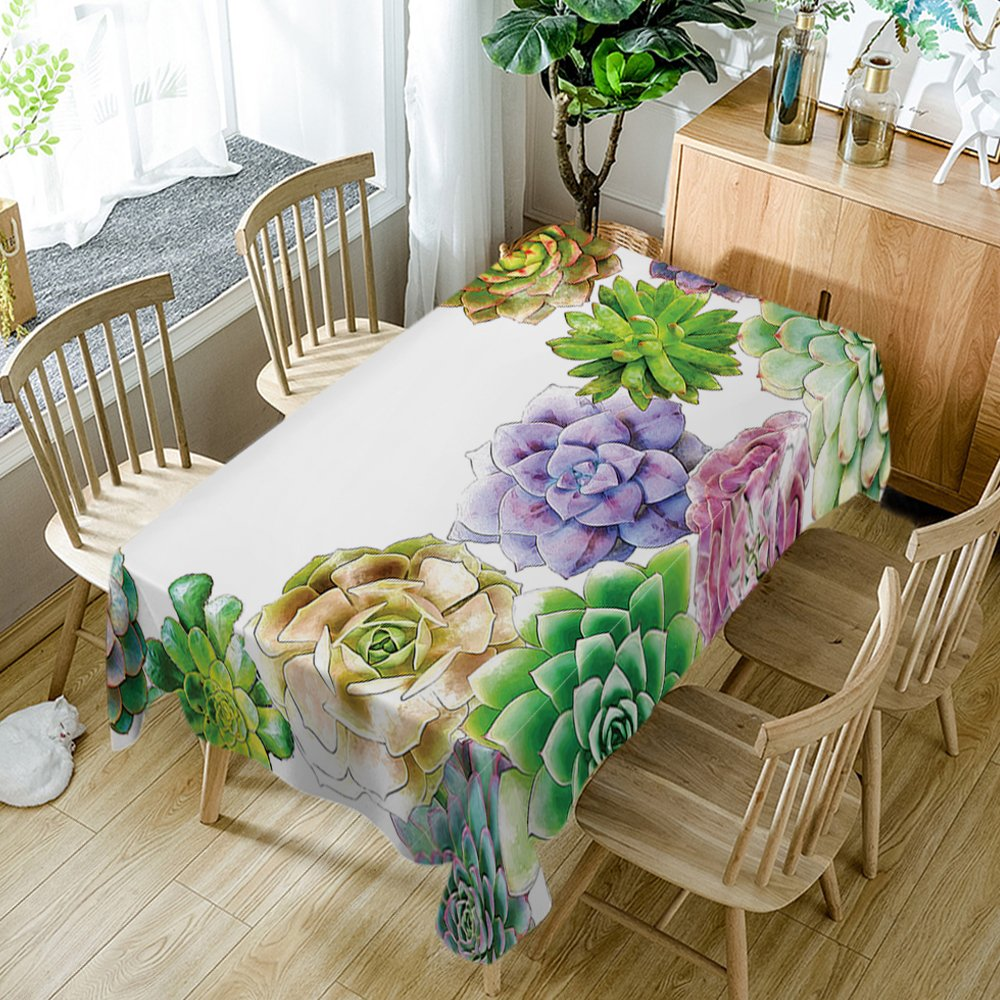 Cactus Tablecloth Modern Decor Succulent Flowers Cactus Watercolor Polyester Fabric Table Cloths Dining Room Kitchen Rectangular Table Cover 60W X 84L Inches Watercolor