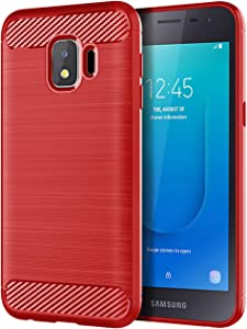 Slinco Galaxy J2 Core Case, Galaxy J2 Dash Case, Galaxy J2 Pure Case, Bench Case Flexible Soft TPU Slim Light Rugged Durable Armor Snugly Fit Case for Samsung Galaxy J2 Core (Brushed Red)