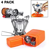 PARTYSAVING [4-Pack] Pocket Size Collapsible Camping Stove Burner with Piezo Ignition System, APL1445