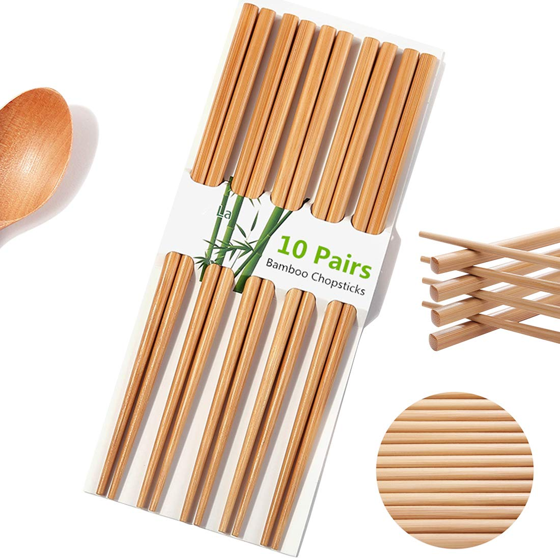 Chopsticks Chinese Natural Bamboo Chopsticks 9.4 Inch / 24cm Long Lightweight Reusable Wood Chopstick Set for Eating Cooking -10 Pairs Gift Sets Dishwasher Safe Color1【Upgraded Version】