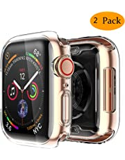 Smiling Clear Case for Apple Watch Series 4 44mm with Buit in TPU Screen Protector - All Around Protective Case High Definition Clear Ultra-Thin Cover for Apple iwatch 44mm Series 4 (2 Pack)