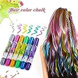 Hair Pastello, Luckyfine 6 colori Wearable Hair Chalk Set Metallic Glitter Temporary Hair Color pastello per capelli per ragazza, non tossico e ideale per costumi, carnevale, feste, festival ecc.