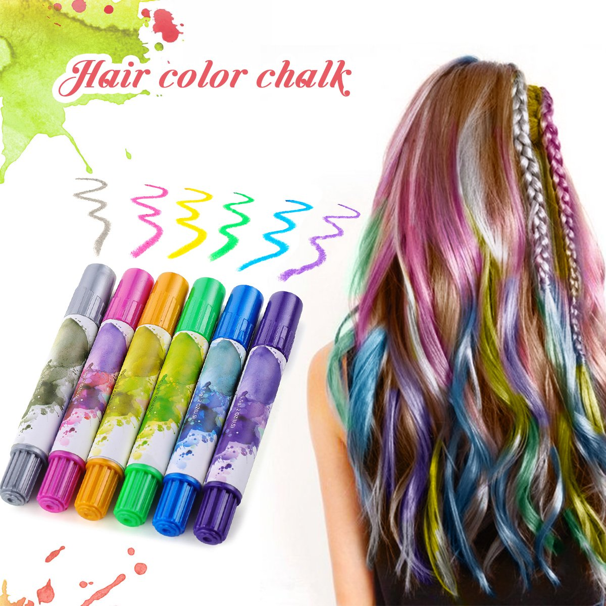 Hair Color Chalk Pens Y.F.M, 6 Colors Non-Toxic, Safe Hair Chalk in Any Ages, Colored Shimmer Temporary Hair Dye, Party Cosplay DIY, Gifts for Birthday Festival, Colors For All Hair