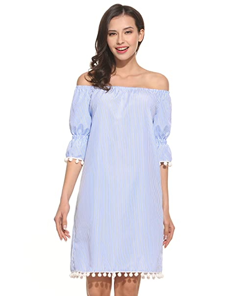 573367b27f1bf Meaneor Damen Schulterfrei Kleid Sommerkleider mit weiße Bommeln Minikleid  trägerlos Strandkleid Partykleid