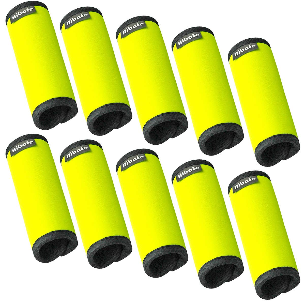 Hibate Comfort Neoprene Luggage Handle Wrap Grip Tags - Fluorescent Yellow, Pack of 10