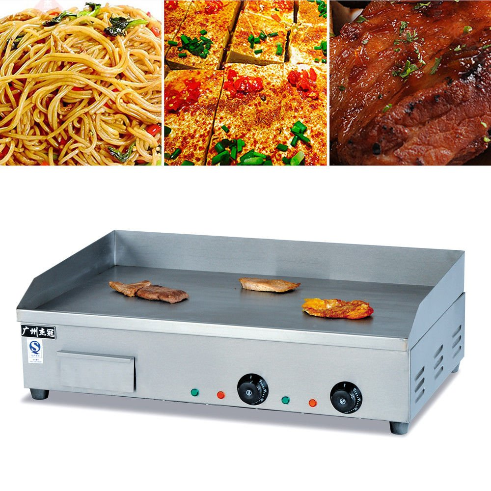 Electric Countertop Griddle Grill, 4400W 110V Commercial Electric Food Griddle Grill Hotplate Stainless Steel Countertop Flat BBQ Grill Equipment (USA Stock)
