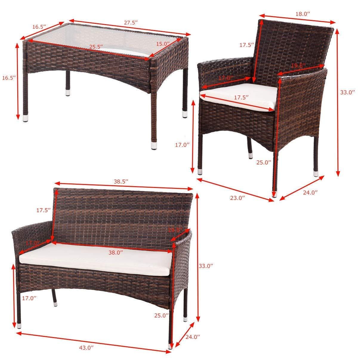 EnjoyShop 4 Pcs PE Rattan Wicker Table Shelf Sofa Furniture Set with Cushion Dining Garden Picnic Outdoor by EnjoyShop (Image #4)
