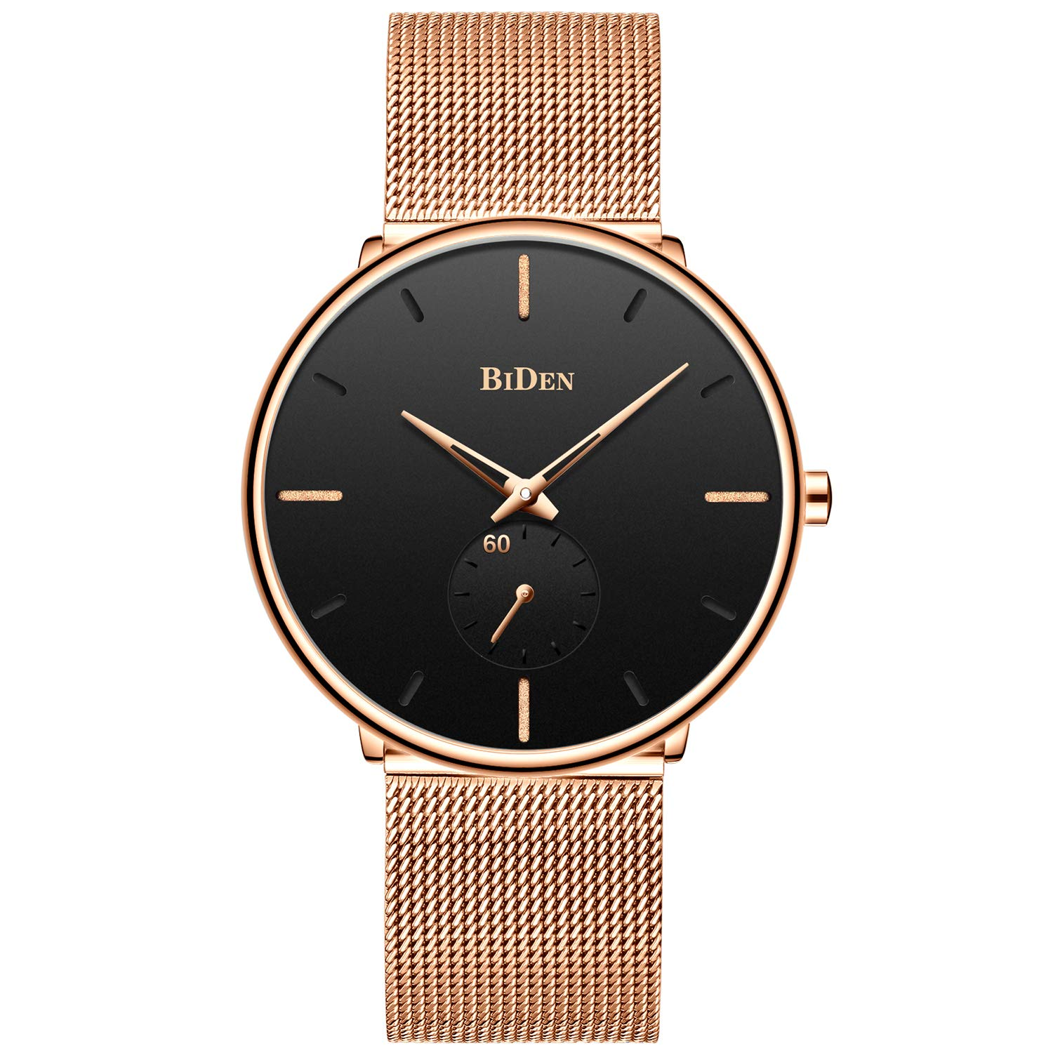 Mens Black Watches Men Stainless Steel Waterproof Mesh Watch Simple Designer Analogue Quartz Stylish Watch Men s Luxury Business Classic Dress Gents Watches for Men