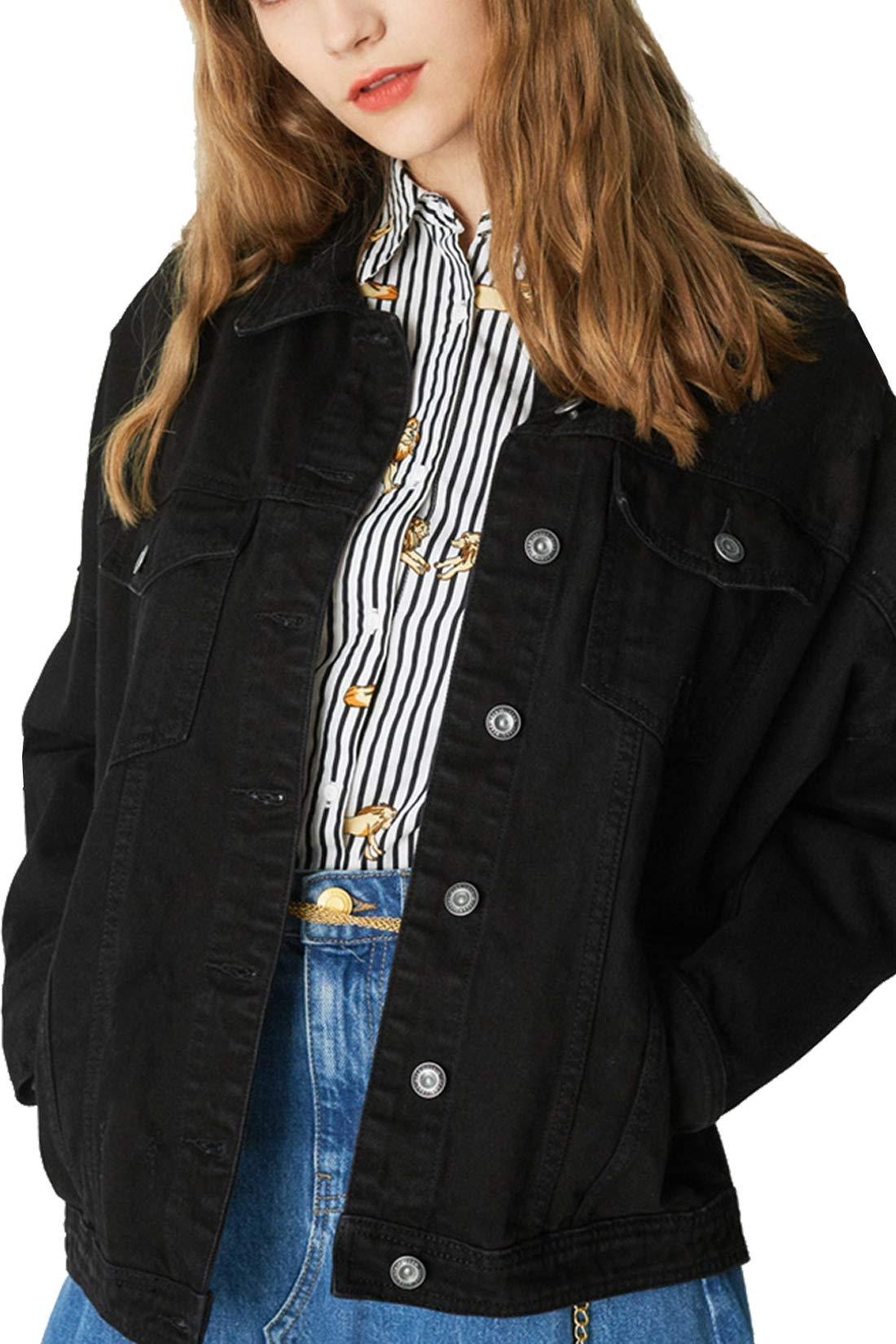 719ac25fcfb2 Tsher Women s Denim Jacket Long Sleeve Cotton Loose White Denim ...