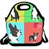 Cute Dogs Boston Terrier With Balloon Handy Portable Zipper Lunch Box Lunch Tote Lunch Tote Bags