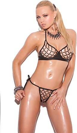 Black leather string top studded dancer g-string set