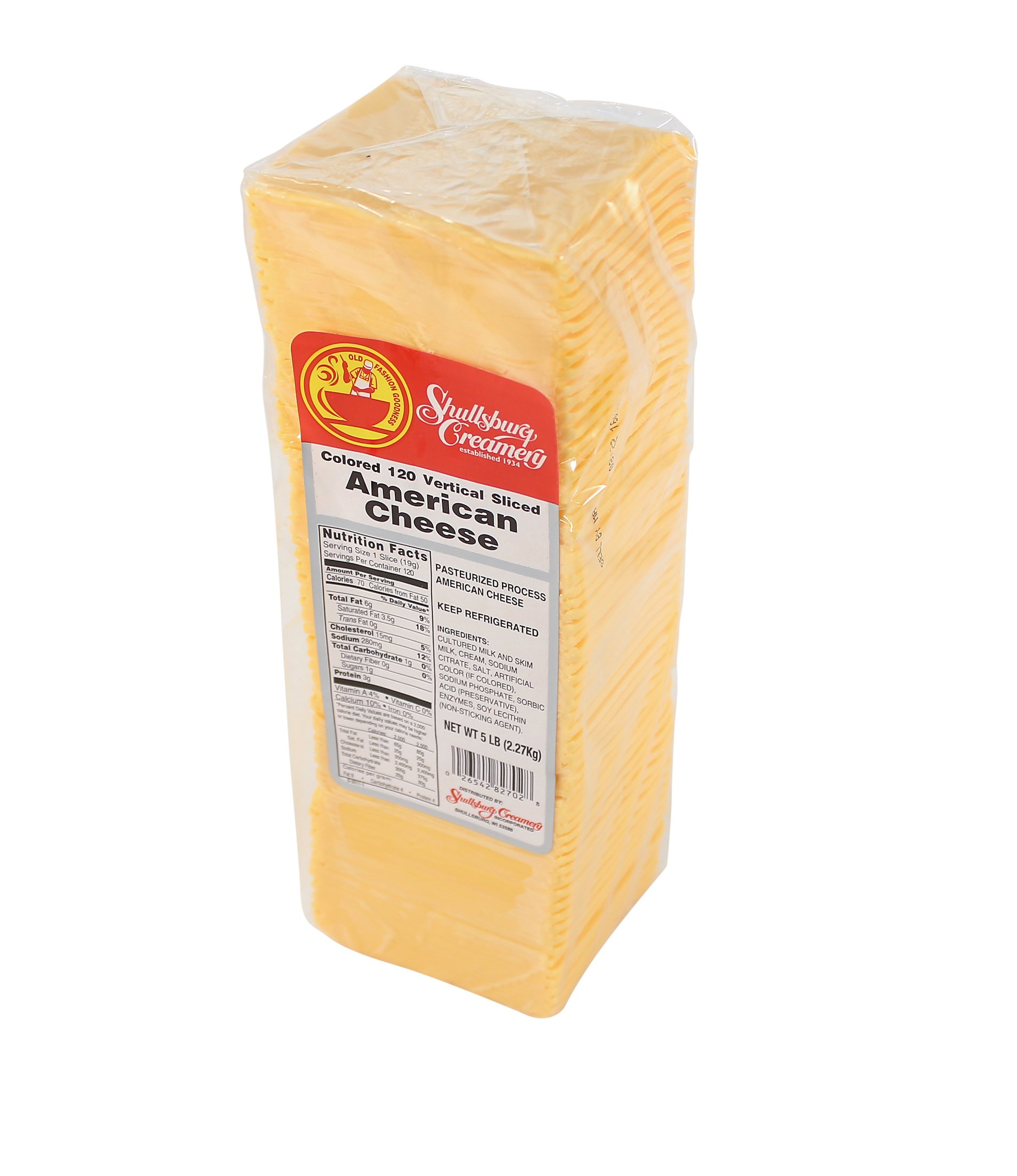 Shullsburg Creamery - 120 Slice American Cheese - 5 Pound Loaf