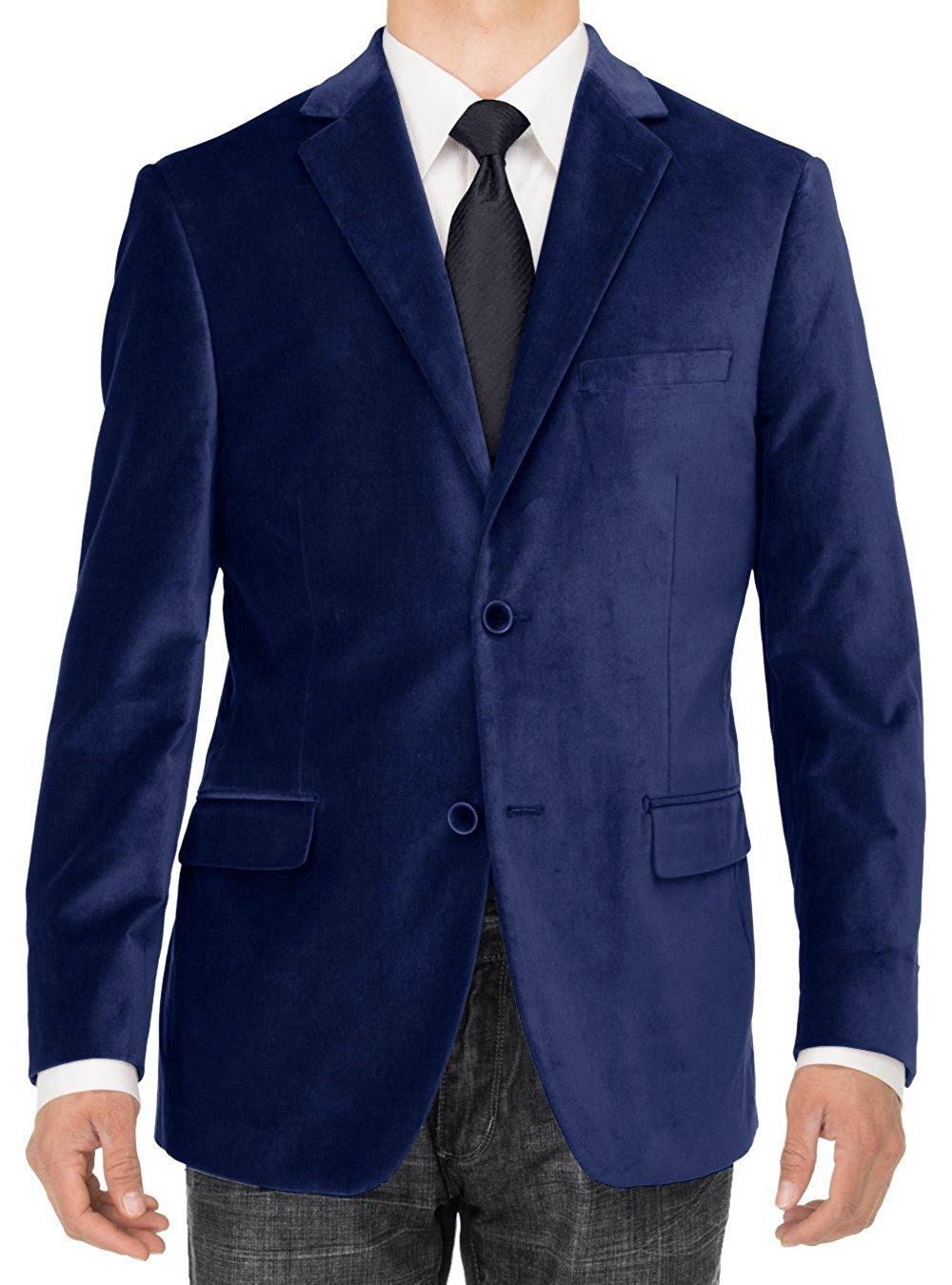 LN LUCIANO NATAZZI Mens 2 Button Velvet Blazer Working Buttonholes Suit Jacket (46 Long US / 56 Long EU, Royal Blue)