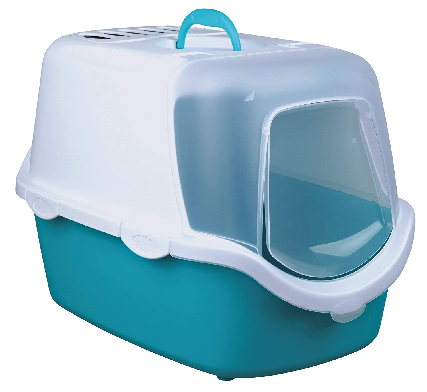 Amazon.com : Trixie Vico Aquamarine/White Hooded Litter Tray : Pet Supplies