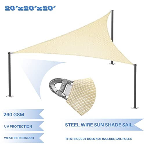 E K Sunrise Reinforcement Large Sun Shade Sail 20 x 20 x 20 Equilateral Triangle Heavy Duty Strengthen Durable Outdoor Garden Canopy UV Block Fabric 260GSM – 7 Year Warranty – Beige