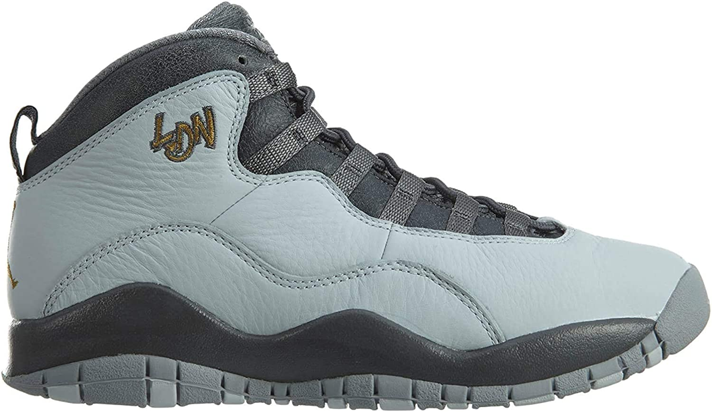 Jordan Nike Kids Air 10 Retro Black Leather Basketball Shoe