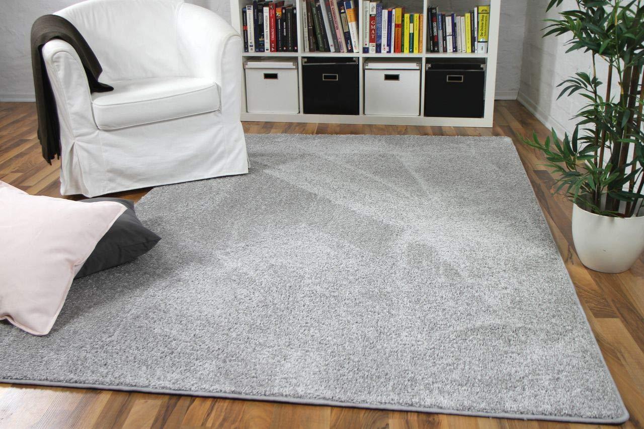 Hochflor Velours Teppich Mona Silbergrau in 24 Größen
