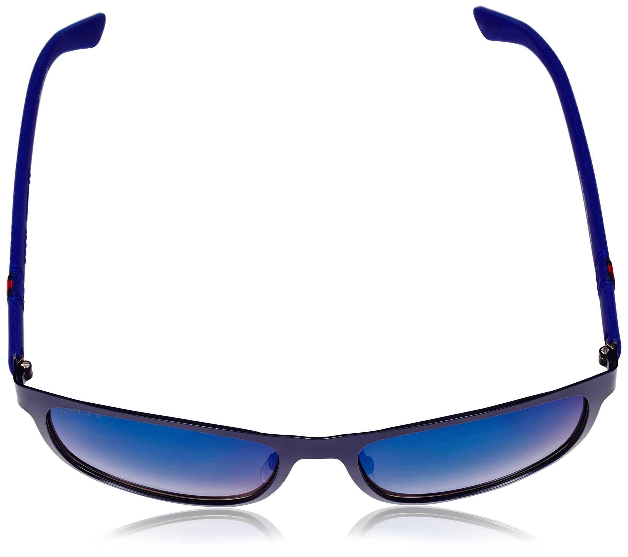 Gucci Men's Square Sunglasses, Matte Blue/Grey Multi, One Size by Gucci (Image #4)