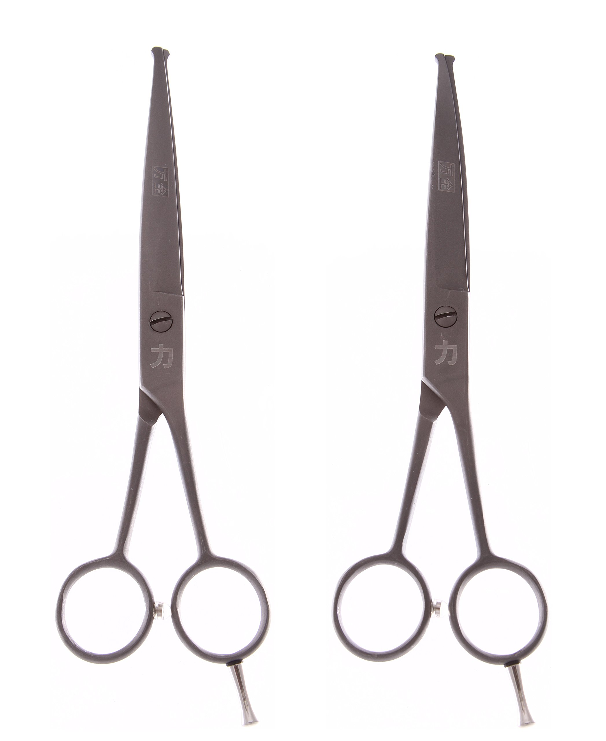 ShearsDirect STR and CRV Ball Tip Shears (Set of 2), Matted Gun Metal, 6.5''