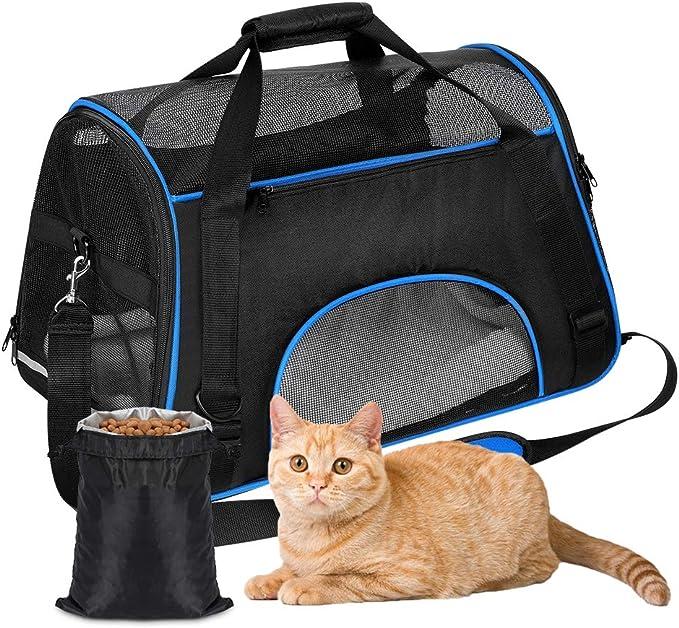 YOUTHINK Gato Transportín Portador Portátil Aprobado por la Aerolínea, Extra Espacioso Suave Lado para Mascotas Seguridad 19.5x11.5x11.5 Pulgadas, Trajes para Perros/Gatos/Avión/Viaje en Coche