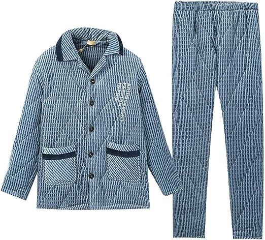 Pijama Acolchados de Lana de Coral para Hombre de otoño e Invierno ...