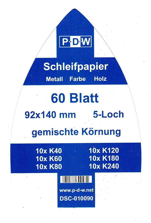 Aiguiseur triangulaire Black Meule de pon/çage Decker Lot de 120 feuilles de papier abrasif pour ponceuse Mouse 92 x 140 mm Grains de 20 x K40//60//80//120//180//240 mm 5 feuilles de papier abrasif