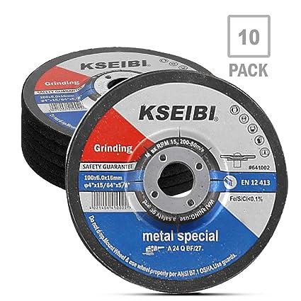KSEIBI 651002 4-Inch by 1/4-Inch Metal Stainless Steel Inox Grinding Disc Depressed Center Grind Wheel, 5/8-Inch Arbor, 10-Pack