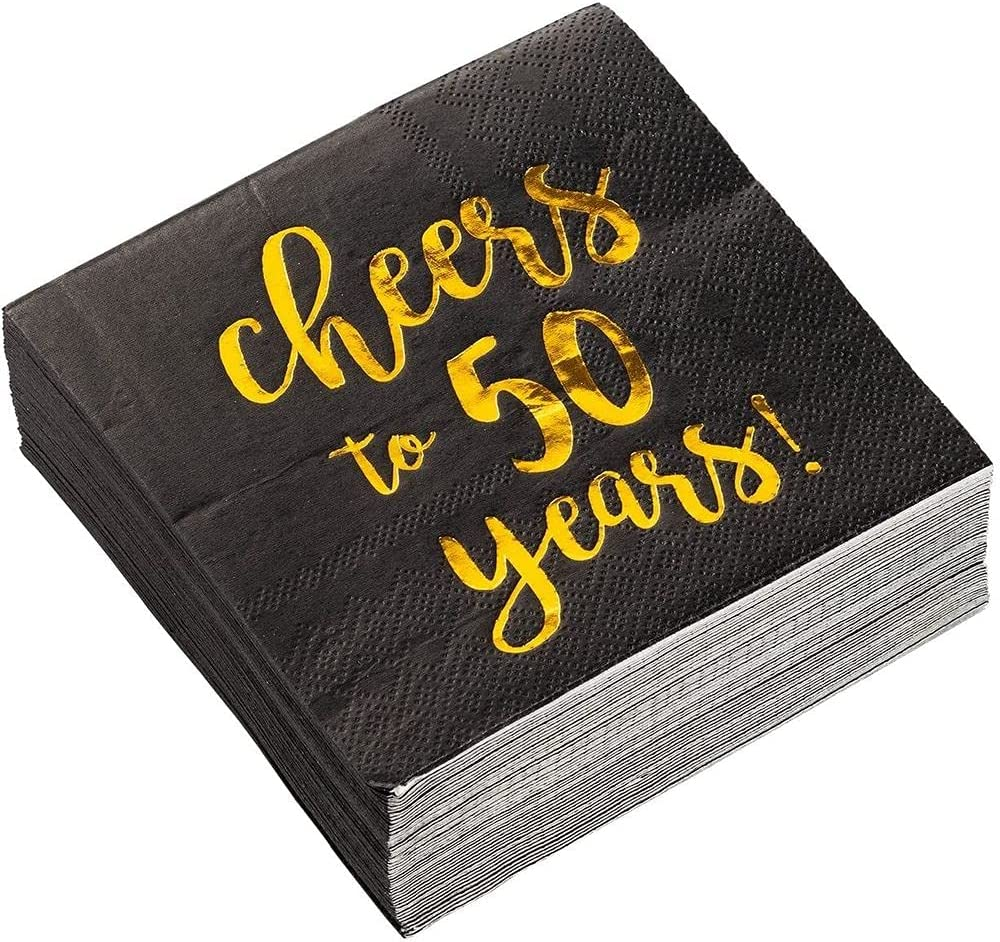 Cocktail Napkins - 50-Pack Luncheon Napkins, Disposable Paper Napkins Party Supplies for Birthday, Anniversary, 3-Ply, Cheers to 50 Years Design, Unfolded 10 x 10 inches, Folded 5 x 5 inches