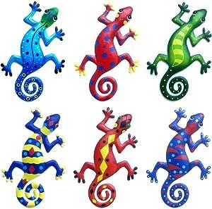 EEEKit 6 Pack Metal Gecko Wall Decor, Outdoor Metal Hanging Lizard Wall Art, Lizard Wall Sculptures & Statues Decoration for Home, Office, Garden, Farmhouse, Porch, Patio, Lawn, Fence, Backyard