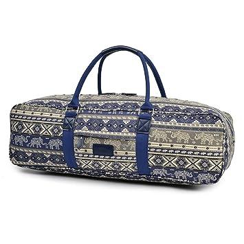 Fremous All-in-One Yoga Mat Bag Carrier Patterned Canvas de ...
