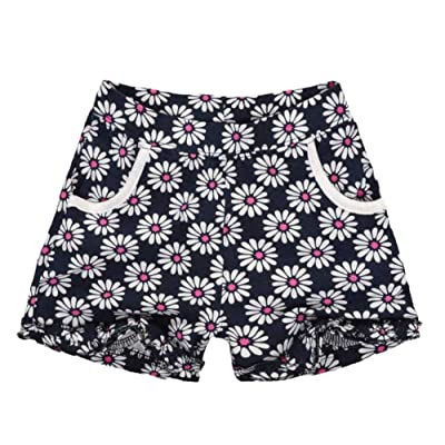 Hwafan Baby Little Girls Flower Printed Ruffles Cotton Summer Beach Shorts Pants